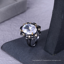 La fabrication de bijoux fournit des bijoux en anneau de pierre blanche de zircon pour des femmes