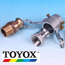 Acoplador de braços de cames OPW Kamlock feito de alumínio, aço inoxidável, PP e bronze. Fabricado pela Toyox. Feito no Japão
