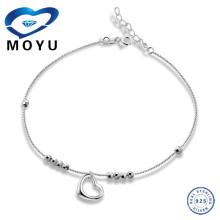 Bracelet en chaîne coeur coeur en argent 925