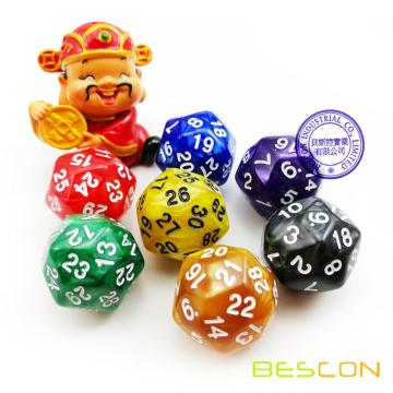 Multi-sides Dice 30 Sides Gaming Dice, D30 Die, D30 Dice, 30 Sides Dice Marble Color
