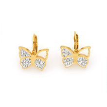 Lindo aço inoxidável ouro borboleta brinco modelos de jóias