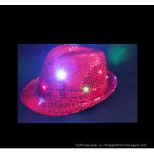 Светодиодные шляпы блеск флэш-хлопок Бейсбол Кепка Черная