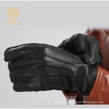 Erstklassige klassische schwarze Farbe Männer Geschäft Deerskin Leder Handschuhe
