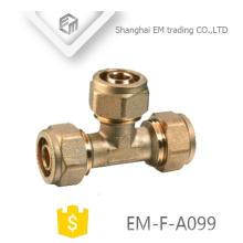 EM-F-A099 Connecteur de compression de tuyau en T en laiton Raccord de tuyau en filetage femelle