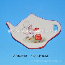 2016 nuevos artículos de cerámica del mono sostenedor de cerámica de la bolsita de té con la pintura del mono