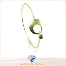 Fashion Beautiful Punk Gold and Silver Circle Cuff Bangle 925 Silver Bangle (G41331)