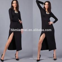 2017 venda Quente elegante manga longa Sexy Profundo V Pescoço Aberto garfo vestidos de noite
