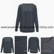 Suéter de cachemira pura de cuello redondo estilo casual de cuello redondo de mujer