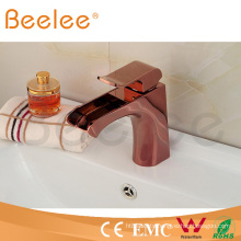 2015 Low Arc Rose Gold Single Handle Basin Faucet with Water Channel Spout Ql140409r