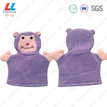 Animal purple gloves body bath sponge