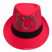 Girl′s Fedora Hat with Sequins Logo and Band for Wholesale