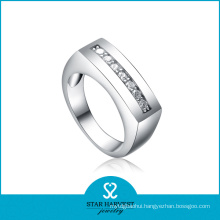 100% Handmade Sandblasting 925 Sterling Silver Ring with CZ (R-0112)