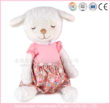 Custom stuffed 25cm White Mini Plush Sheep Toys with Dress