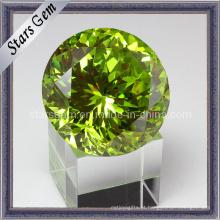 Twinkle Jelly Green forma redonda grande tamanho Zirconia cúbico