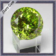 Мерцание желе Зеленая круглая форма Большой размер кубического циркония