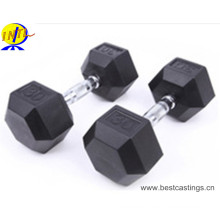 Hot Sale Hexagonal Cast Iron Rubber Coated Dumbbell