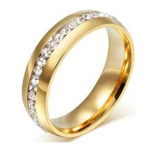 Anillo de bodas plateado oro titanium 18K de 8m m con el anillo de dedo determinado del canal CZ