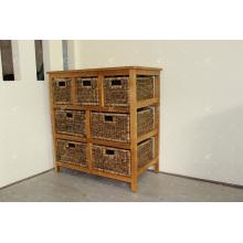 Exotic Design Natural Water Hyacinth Storage Cabinet Indoor Wicker Furniture