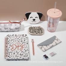 Eco Friendly Cute Dog Design Notebook Pencil Case Pen Children Essentials Office School Supplies Gift Kit Stationery Set