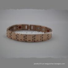 Cheap aço inoxidável rosa pulseira de corrente de ouro