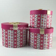 Custom impresso cosméticos rodada caixa de papel conjuntos de caixa com fita