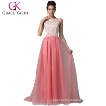 7 Colors Available Grace Karin Floor Length Formal Dress Elegant Sleeveless Watermelon Red Long Lace Prom Dresses 2016 CL6108-4#