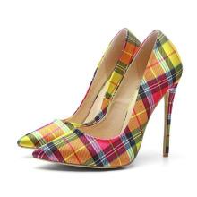 Wholesale stylish big size wide width womens pump shoes stiletto high heel plaid fabric ladies dress shoes