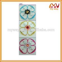 Etiquetas de acrílico de flores bonitas, adesivos de cristal de acrílico