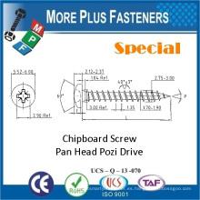 Hecho en Taiwán Carbón de acero de carbono cabeza Pozi Drive Nueva Premium Custom Custom Chipboard tornillo