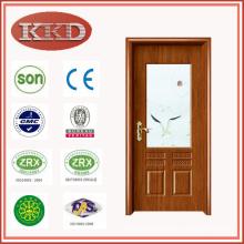 Artistical Glass Inserted Steel Wood Door JKD-2079 for Interior Kitchen Use