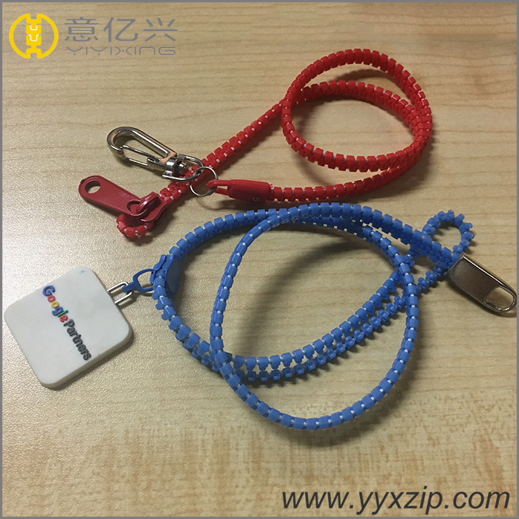 customized plastic zipper lanyard