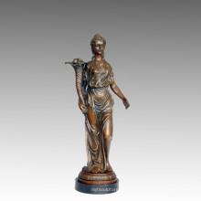 Femme Art Figure Bronze Jardin Sculpture Fleur Lady En Laiton Statue TPE-549/550