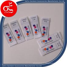 Étiquettes tissées par tissu privé fait sur commande de polyester de nom de marque / étiquette principale