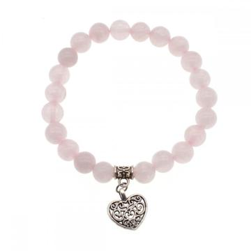 Natural Rose Quartz Chakra Gemstone 8MM Round Beads Charms Bracelet with Heart Alloy