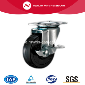 40mm Black Rubber Light Duty Industrial Caster mit Seitenbremse