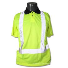 Tira reflexiva de malha poliéster alta visibilidade segurança polo t-shirt (yky2819)
