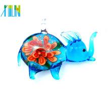 моды чистое голубое мини-слон в цветок стекло кулон