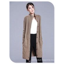 Mesdames 'Tricots Épais Cachemire Pure Tricot Stand Col Cardigan Manteau Avec Simple-boutonnage