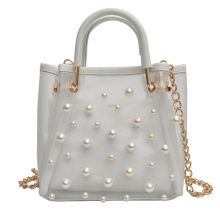 Ladies Fashion Chain Shoulder Bags PVC Clear Jelly Tote bag Purses Handbags with Pearls for Women