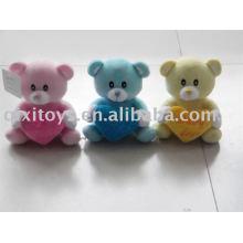 rosa recheado e plush valentine teddybear com coração, animal macio lindo brinquedo