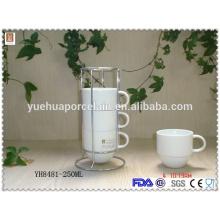 Eco-friendly xícara de chá de porcelana super branco com rack de aço