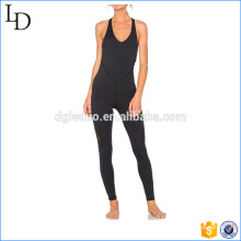 Strappy body one-pieces yoga desgaste preto sexy esporte bodycon desgaste