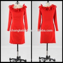 Real Pictures manga larga corto vestido de cóctel formal vestido de cóctel rojo vestido de baile enrollado cuello