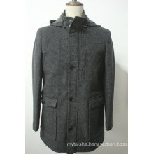 Men′s Signature Textured Tweed Parka Quited Jacket Coat