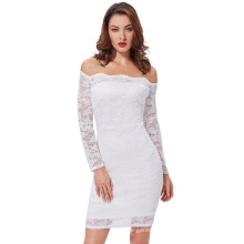 Kate Kasin Sexy Women's Off Shoulder White Floral Lace Hips-Wrapped Bodycon Pencil Summer Dress KK000497-2