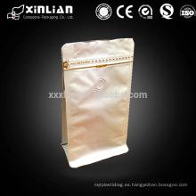 Bolso de aluminio plano de la bolsa del ziplock de la parte inferior para el empaquetado del café