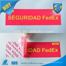 Klebstoff-Aufkleber-Typ und Anti-Counterfeit Feature Airline-Dichtung, Sicherheit Etiketten und Klebeband für Verpackung