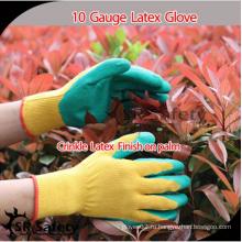 SRSAFETY дешевая цена / 10g поликатоновый лайнер с покрытием зеленые латексные перчатки / перчатки