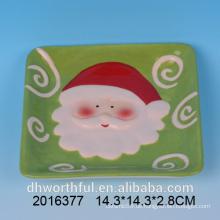 Weihnachtskeramik santa Malerei quadratische Käseplatte
