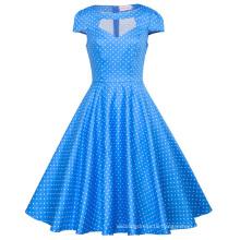 Belle Poque Women Hollowed Short Sleeve Blue Dress Small White Dot Retro Vintage Cotton Dress BP000008-12